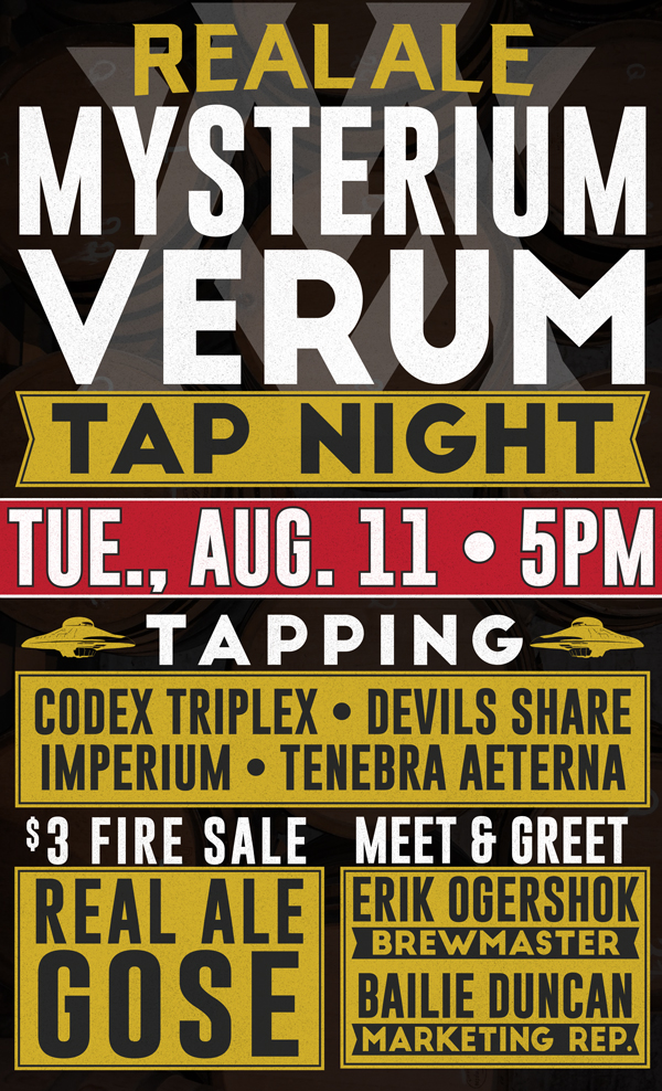 Mysterium Verum Tap Takeover - Real Ale Brewing Company